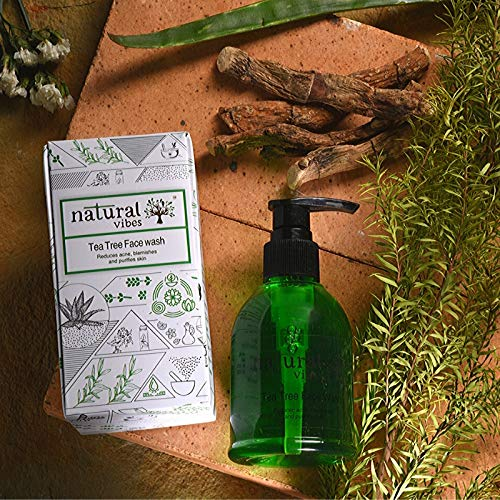 Natural Vibes Ayurvedic Tea Tree Face Wash    Reduces Acne, Clears Skin & Controls Oil  Dry, Oily & Sensitive Skin Types   Paraben & SiliconeFree