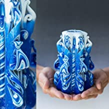 Special Decorative Christmas Gift For Her for Women, Mother in law, Unique Handmade Gift Shop Hand Carved Candles Blue