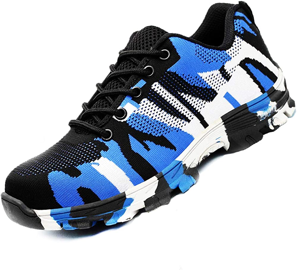 Dogeek scarpe antinfortunistiche da lavoro unisex con puntale in acciaio Camo Blu