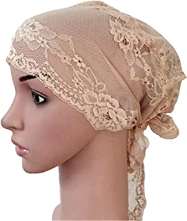 Women Muslim Turban Inner Cap Arab Lace Islamic Headwear Chemo Hat Wraps Cover Beanie Long Tail Bonnet 30 Light Brown One Size
