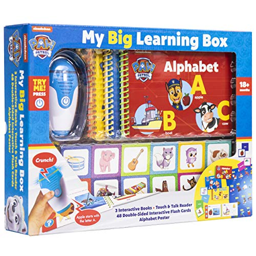 PAW Patrol Chase, Skye, Marshall, and More! - My Big Learning Box Set - Educational Touch & Talk Reader with 3 Interactive Books, 48 Flashcards, and Poster - PI Kids