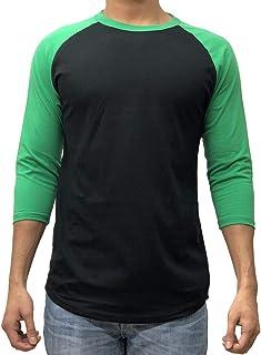 Men's Plain Raglan Baseball Tee T-Shirt Unisex 3/4 Sleeve Casual Athletic Performance Jersey Shirt