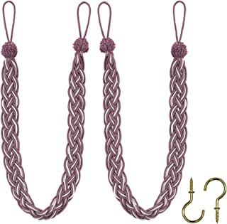 Home Queen Hand Braided Curtain Tie Back, Buckle Holdback Drapery Curtain Tiebacks, 2 Rope Belt Curtain Tie with 2 Metal Hooks, Blush and Silver