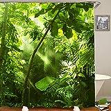 HUAYEXI Duschvorhang 180x180cm,Tropische Waldbäume in Sonnenlicht & Regen,Duschvorhang Wasserabweisend-Duschvorhangringen 12 Shower Curtain mit