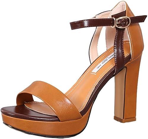Sandalias de tacón alto con zapatos de tacón alto impermeables ( Color   Camel Color , Tamaño   36 )