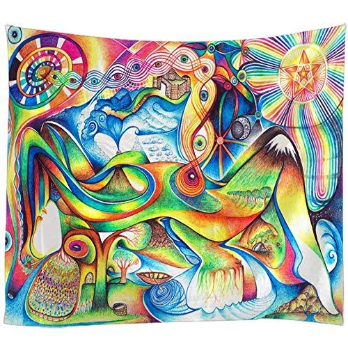 WYFCLHH Tapiz para decoración de pared con diseño de mandala psicodélico, diseño de flores y flores, bohemio, decoración de dormitorio, sala de estar, 159.1 x 22.7 cm