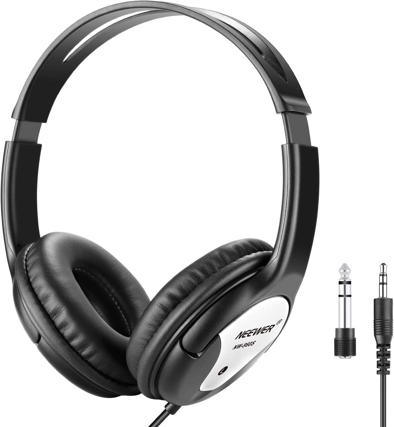 Neewer NW-960S Estudio Monitor Auriculares Plegables Dinámicos con 40mm Lohailer Driver, Cable Desmontable 3 Metros, Adaptador Enchufe 3,5-6,3mm para PC, Smartphones, MP3 (Negro)
