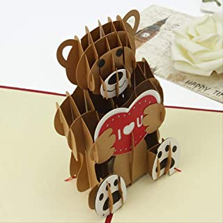 LY88 Gift 3D Pop Up Greeting Card Cartoon Teddy Bear Paper Carving Art Folding Invitation Card Festival Bussiness Gift Val...