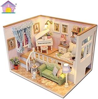 FANTY DIY Dollhouse Wooden Miniature Furniture Kit , 3D Wooden Miniature House with Dust Cover