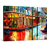 Downpour and Jackson Square Canvas Wall Art Print, 24'x18'x1.25'
