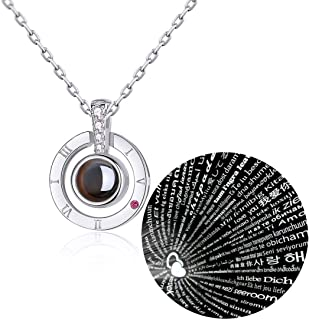 Jxlepe 100 Languages I Iove You Valentine Pendant Stainless Steel Necklace for Women Girlfriend Lover Inexpensive Gift Idea