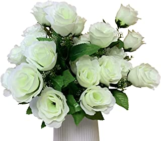 Homyux Artificial Rose Bouquets with Baby Breath Flower Arrangements for Wedding, 3 Pack 10 Heads Floral Decorations Home Kitchen Garden Party Decor, Green White