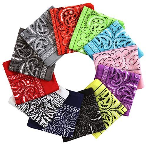 Bandanas 12 Pack Handkerchiefs - Large/Jumbo Colorful Paisley Cowboy Bandana for Men & Women - Head & Face Wrap Scarf