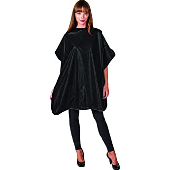 Hair Stylist Shampoo Cape, Waterproof and Stain Resistant Vinyl, Soft Nylon Neckband, Classic Black Color Design, Touch-and-close Fastener, 36 x 54 inches, Black