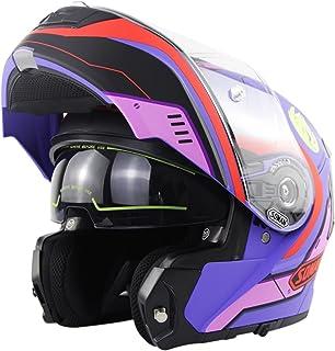 Cascos Modulares De Moto Mujer Hombre DOT ECE Homologado Casco Abierto Moto Con Doble Visera Anti Niebla Gran Angular, Rev...