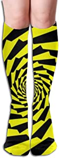Spiral Of Rotating Squares,Spiral From Squares - Black And Yellow Cómoda Adult Knee High Sock Gym Outdoor Calcetines 50cm 19.7inch