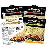 Norigami Non-GMO Gluten-Free Soy Wraps Sesame Seeds, Soy Wraps Chili, Soy Wraps Poppy Seed and Soy Wraps Flax Seeds (6 Wraps Per Pack), Ready To Fill And Serve Wraps (4 Packs)