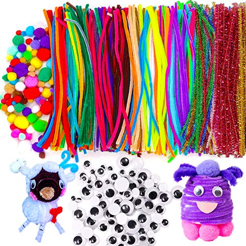 TORUBIA 600pcs Pipe Cleaners Craft Assortment Set for School Projects, DIY Activities & Parties,Includes 400pcs Chenille Stems, 100pcs Pompoms and 100pcs Wiggle Googly Eyes. Assorted Colors
