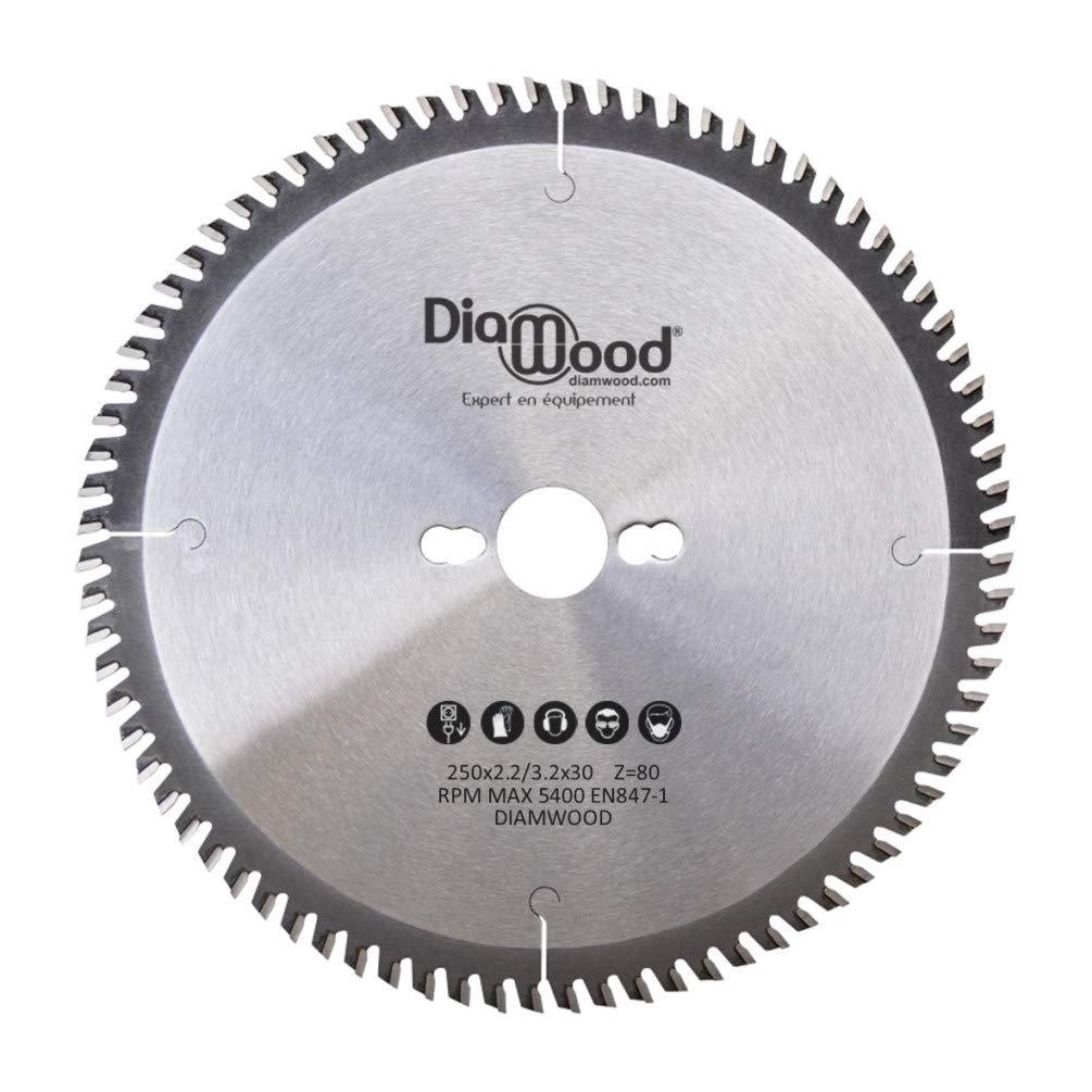 Hoja de Sierra Circular - 250 x 30 x 3,2/2,2 mm - 80 Dientes Alternos para Aluminio y Madera - Diamwood
