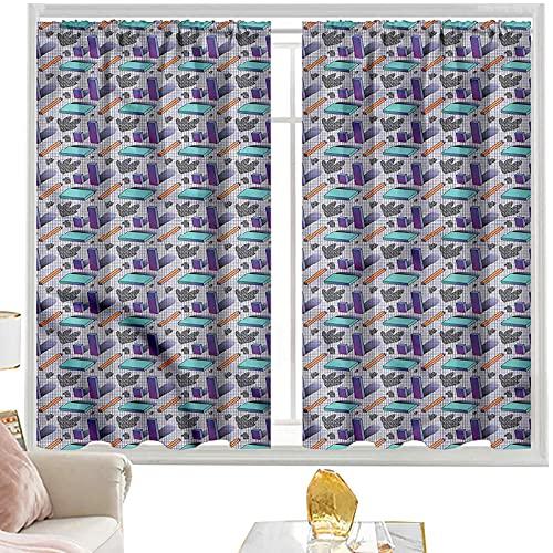 Cortinas de bloqueo de luz geométricas, patrón de azulejos de diamante W52 x L63 pulgadas cortinas opacas de bolsillo de barra