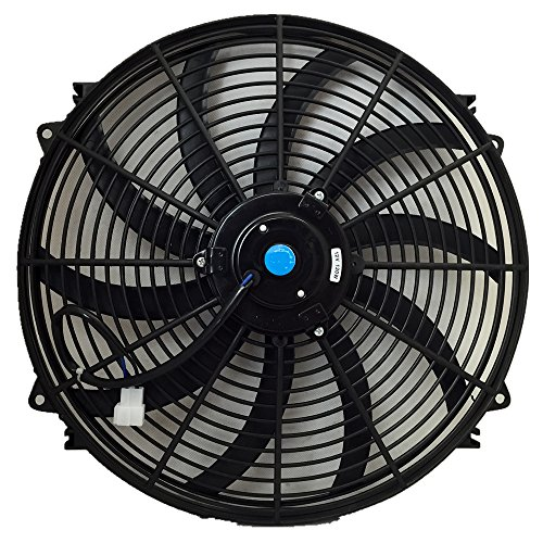 Upgr8 Universal High Performance 12V Slim Electric Cooling Radiator Fan With Fan Mounting Kit (16 Inch, Black)