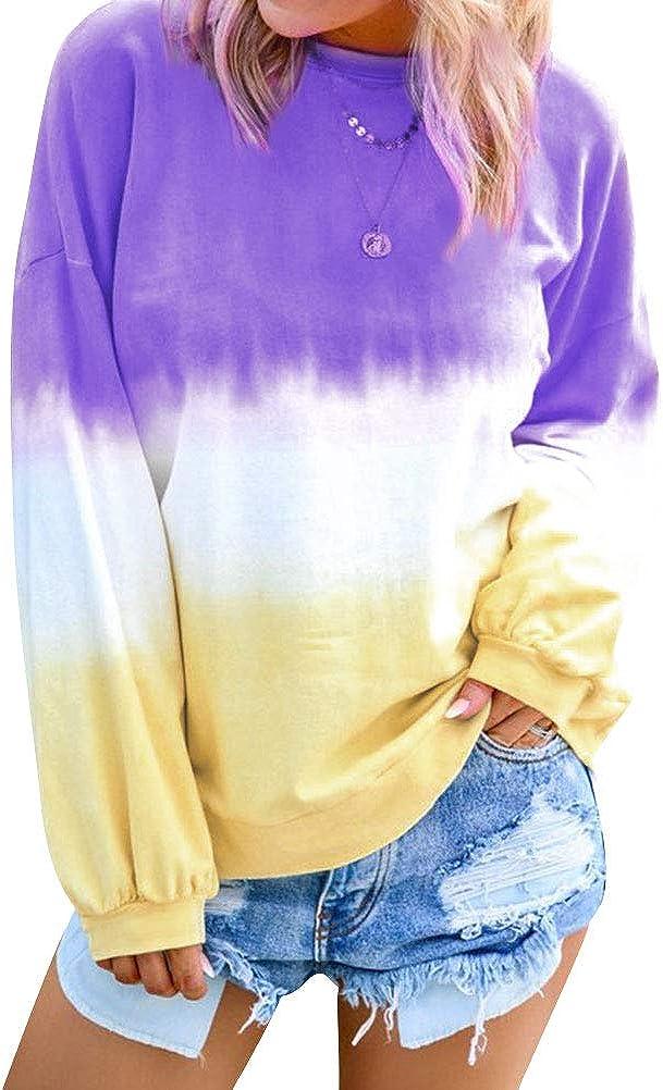 Dresswel Women's Casual Crew Neck Long Sleeve Gradient Contrast Color-Block Pullover Tie Dye Blouse Tops Loose Sweatshirts