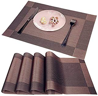 WANGCHAO Brown Placemats Set of 8 Heat Insulation Stain Resistant Placemat for Dining Table Durable Crossweave Woven Vinyl Kitchen Table Mats Placemat (Brown, Set of 8)