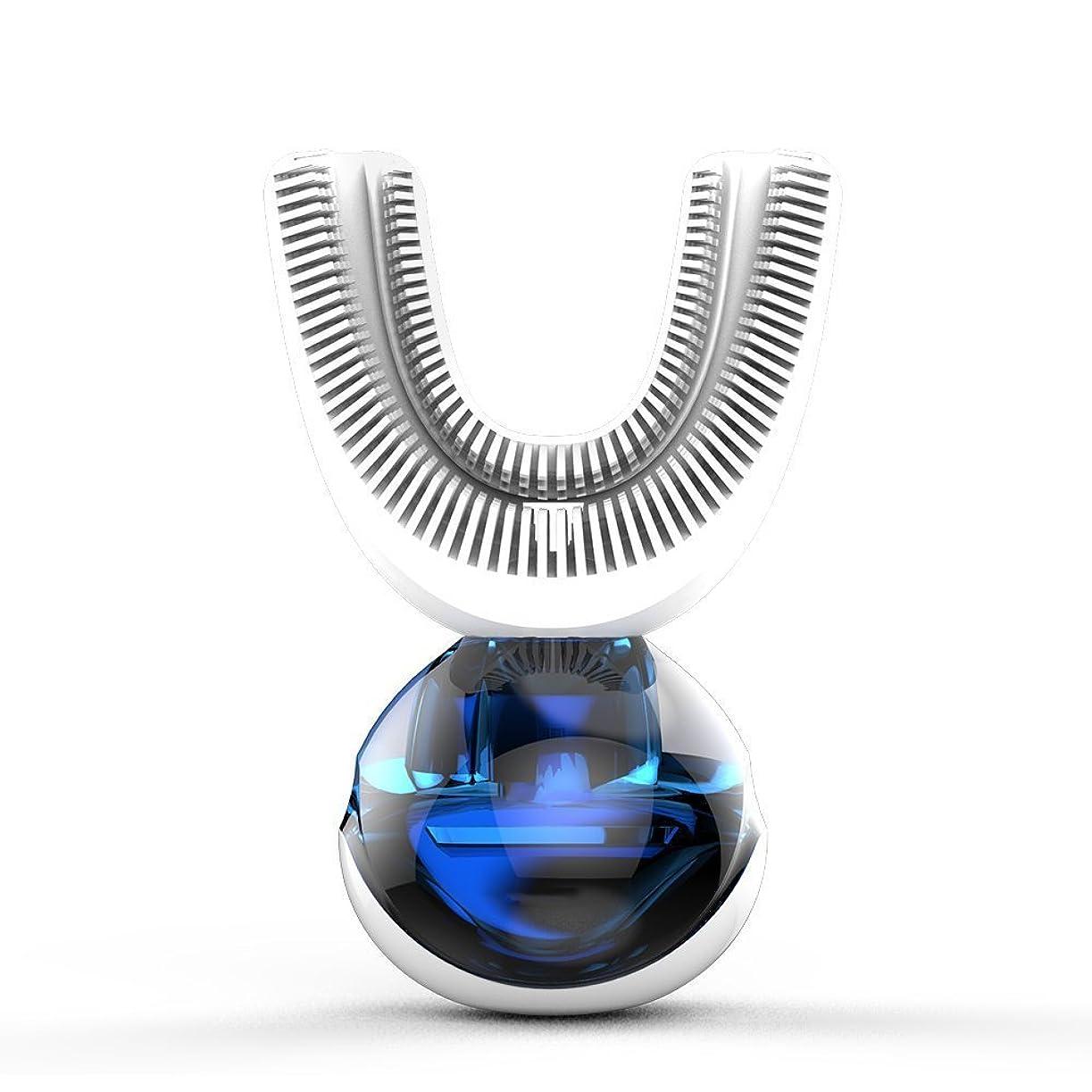 私たち手段フォークフルオートマチック可変周波数電動歯ブラシ、自動360度U字型電動歯ブラシ、ワイヤレス充電IPX7防水自動歯ブラシ(大人用)