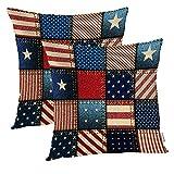 Juego de 2 Fundas de Almohada con Bandera Americana, Juego de 2 Fundas de Almohadas Decorativas con Fondo de Mosaico de Bandera Americana, Fundas de Almohadas 55 * 55 CM