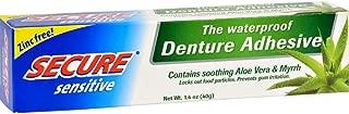Secure Sensitive Gums Waterproof Denture Adhesive Zinc Free with Aloe Vera & Myrrh - Extra Strong 12 Hour Hold - 1.4 oz