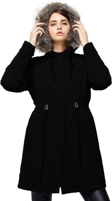 Escalier Womens Hooded Warm Winter Coats Faux Fur Lined Parkas Jackets