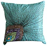 The HomeCentric Aqua Blue Pillow Covers, Peacock Feather Sequins and Beaded Sparkly Glitter Pillows Cover, Pillow Covers 18x18 inch (45x45 cm), Square Silk Pillows Covers Couch, Art - Peacock Grace