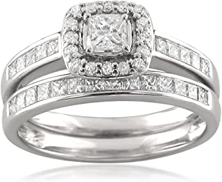 white gold princess cut diamond halo