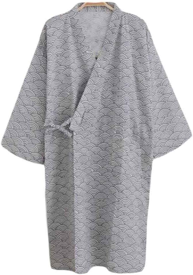 Pigeon Fleet Men Sleepwear Cotton Robes Kimono Pajama Large Night Gown Loose Lounger, Grey