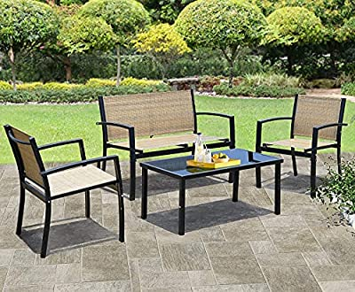 JUMMICO 4 Pieces Patio Furniture Set Modern Conversation Set Outdoor Garden Patio Bistro Set with Glass Coffee Table for Home, Porch, Lawn (Yellow)