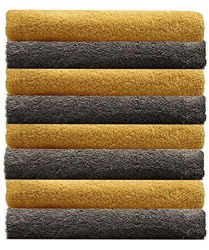 NatureMark NM-HT0701 8-er Spar-Pack Frottier Handtücher, 50 x 100 cm, 100% Baumwolle (Gelb/Anthrazit)