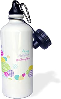 3dRose Happy Birthday Goddaughter-Modern Colorful dots Pattern on White-Sports Water Bottle, 21oz (wb_165136_1), Multicolored