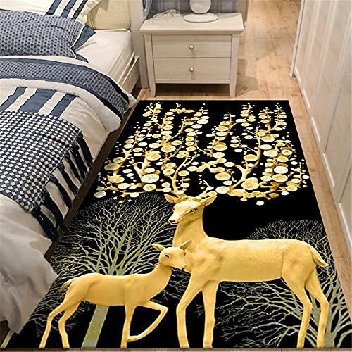 Alfombras Salon Pelo Corto oro alfombras pequeñas Elk pattern, moderno, minimalista, ligero, de lujo, para sala de estar, alfombra, alfombras para el piso del dormitorio, se pueden lavar y personaliza