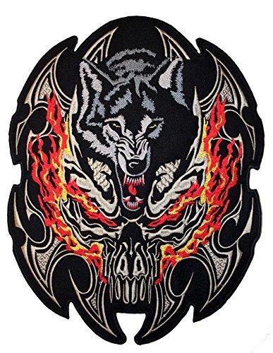 Parche con diseño de lobo agresivo para cazadora y chaleco de motorista,...