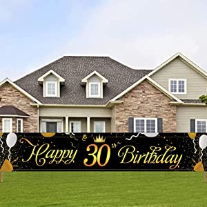 Large Happy 30th Birthday Banner,Cheers to 30 Years Flag,Black Gold 30 Anniversary Party Sign Party Decorations Celebration Flag by ACXOP (9.8feet X 1.6feet)