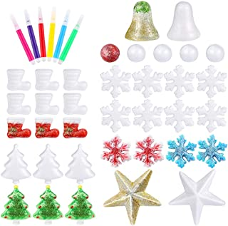 Pllieay 39 Pieces Foam Craft Balls Christmas Shape Polystyrene Spheres with 6 Pieces Color Pen for Christmas Art, Craft Projects and Christmas Party Ornament Decorations