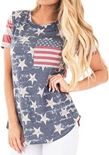 Womens American Flag Tank 4th of July T Shirts Patriotic Short Sleeve USA Tunic Summer Blouse Tops