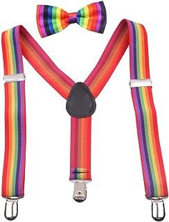 GUCHOL Boys Bowtie Vest Suspenders Set - Adjustable Length 1 Inches Strengthen for Girls