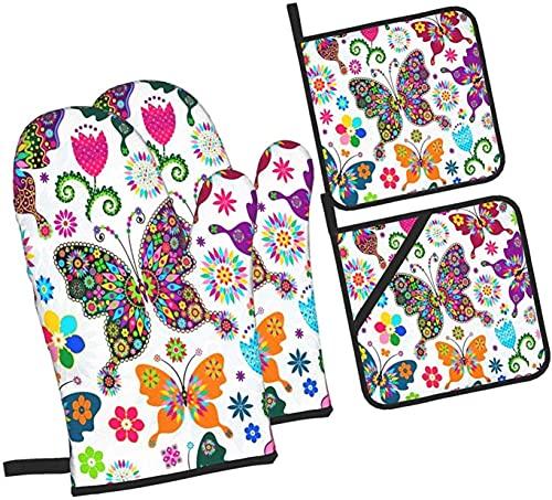 Coloridas flores mariposa horno mitones y agarraderas 4 piezas, soporte profesional a prueba de agua para ollas y guantes para hornear