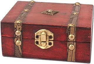 OUNONA Wooden Pirate Treasure Chest Vintage Lock Jewellery Storage Box Case Organizer Birthday Gift Party Favors