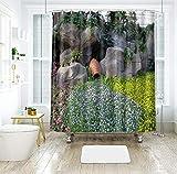 N/V 3D Topfpflanzen In Verschiedenen Mustern Duschvorhang, Polyester Anti Mold Wasserdichter Badezimmervorhang, Maschinenwaschbarer Badevorhang Mit Haken (71 × 71 Zoll)