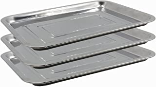 Tattoo Stainless Steel Tray - Yuelong 13.5'' X 10'' 3 Pack Stainless Steel Tattoo Tray Dental Medical Tray Piercing Instrument Tray Flat for Tattoo Supplies,Tattoo Kits