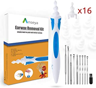 Anseya Earwax Removal Kit, 9 Pcs Ear Pick and Ear Swab, Upgrade Soft Spiral Cleaner with 16 Replacement Tips