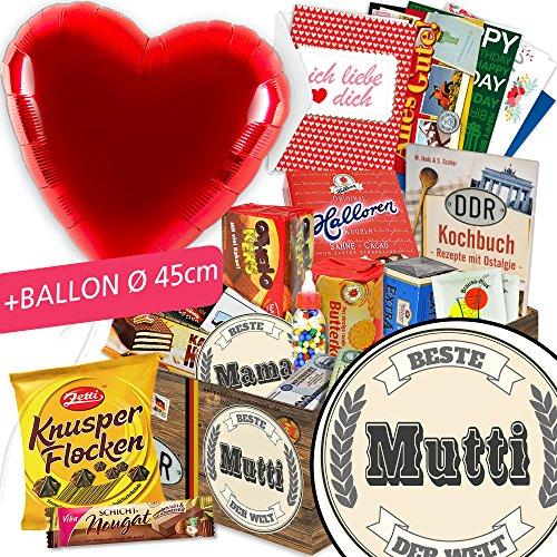 Beste Mutti - DDR Suessigkeiten-Box - mit Herzballon rot