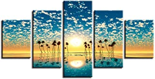 woplmh Stampe HD Decor Decorazioni su Tela Quadri murali -5 Pezzi Fiori Cielo blu Nuvola Bianca Tramonto Panorama di Sole -30x40cmx2 30x60cmx2 30x80cmx1 / Senza Cornice